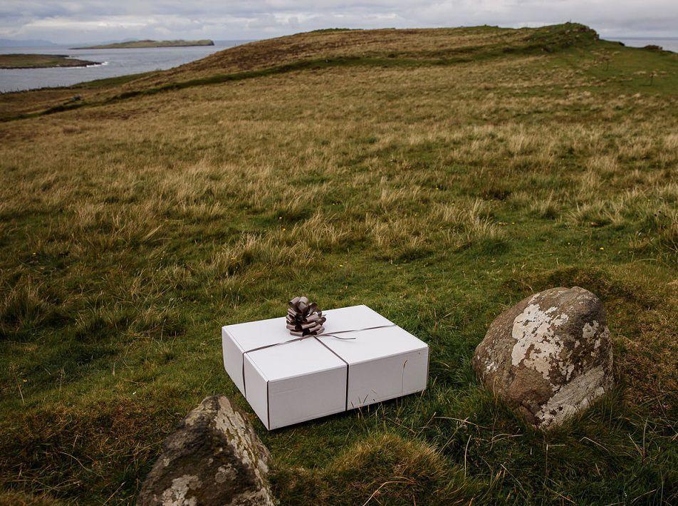 Wedding Gift Box with Natural White Sheepskins