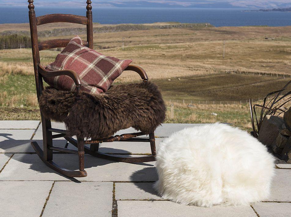 Sheepskin Pouffe in Natural White