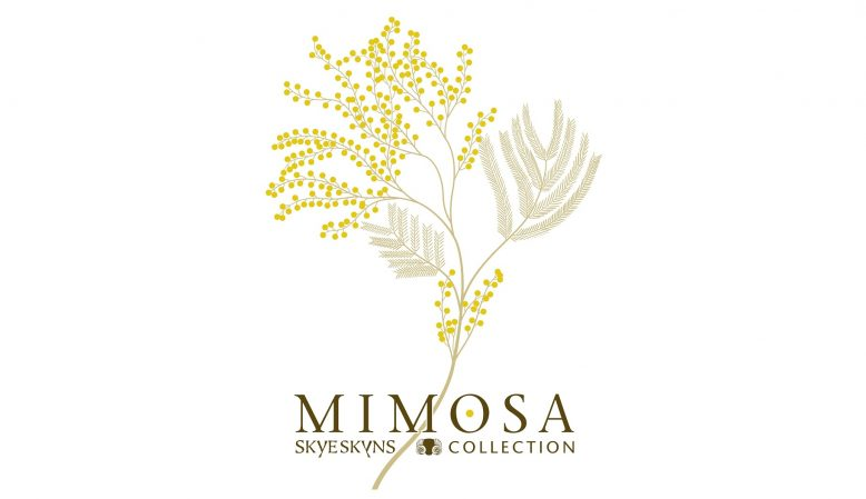 mimosa logo, Skyeskyns, Scottish sheepskins