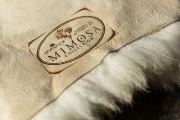 Mimosa stamp, sheepskin, Skyeskyns